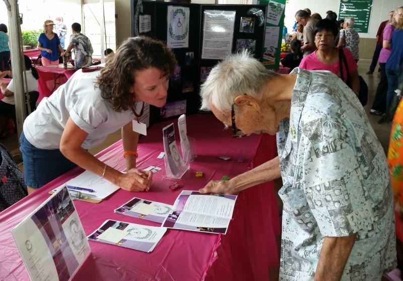 Photo of Kathleen speaking with Senior