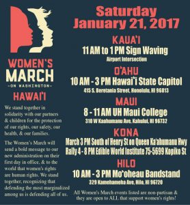 Photo of flier for Hawaii Women's March