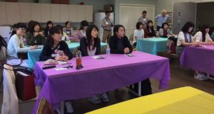 Photo of Japan students listening to Roxanne speaking