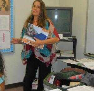 Photo of Karin showing emergency kit