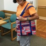 Photo of Elsie Hu with finished bag