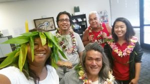 Photo of Lani and Maui Peer Support Group with their lei