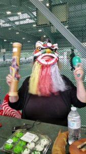 Emily wearing year of the dog mask