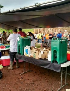 Photo of Starbucks coffee donated by AILH for Puna temporary shelter build