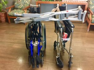 Photo of wheelchairs and crutches