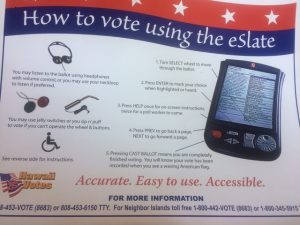Picture of flyer about eSlate voting machine