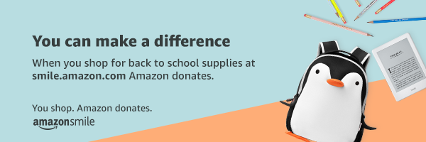 """AmazonSmile banner: """"You can make a difference when you shop for back to school supplies at smile.amazon.com Amazon donates."""""""