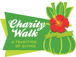 "Charity Walk logo with writing, ""Charity Walk: A tradition of giving"""