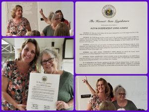 Photo collage of Karin and Emily receiving certificate of appreciation