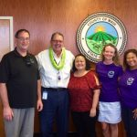 Photo of Brian, Mayor Victorino, Roxanne, Kathleen, and Lani